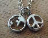 PeaceLoveEarth Recycled Sterling Silver World Peace Necklace w/ Peace Wax Sealed Box Recycled Box & Organic Cotton Pouch