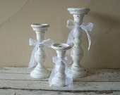 3 piece set of Distressed wooden candle holders RESERVED- Shabby chic - cottage - Paris chic - Weddings