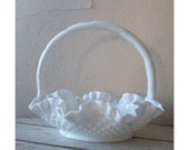 Vintage Milk Glass - Fenton Hobnail - White basket - Home decor and collectible