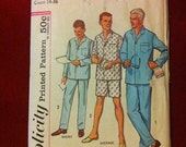 1961 Men's Pajamas Pattern, Size Small Chest 34-36      FACTORY FOLDS    MadMen