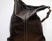 Valentines Day Sale Womens Leather Handbag Hobo Town Style in Bittersweet Chocolate Dark Brown Java