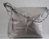Cyber Monday  Sale Womens Leather Handbag Hobo Britt Style in Absolut Silver Gray Metallic