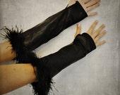 Fingerless Steampunk Gloves Black Leather Genuine Lambskin Womens - Last One - SALE