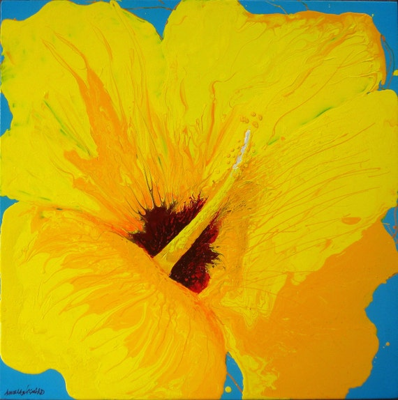 Large painting -Yellow hibiscus flower art marbled painting 24x24 Flower painting Hawaiian decor flower power