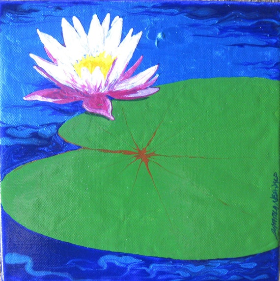 Sunshine Waterlily - original pink lotus flower art on canvas with iridescent blue water  - bliss painting