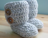 Newborn Button Boots in Neutral Birch
