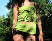 Hoop Girl Screen Print Spaghetti Strap Hand Dyed Green Tank Top