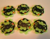 Set of 6 pc Handmade Felt & Fabric Spider Halloween Embellishments