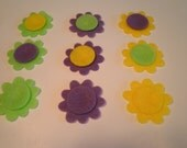New 18 Piece small die cut flowers Style 369 Lime, Purple & Yellow