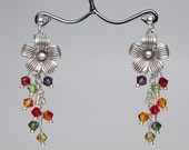 Silver Flower Earrings with a Colorful Swarovski Crystal Drop