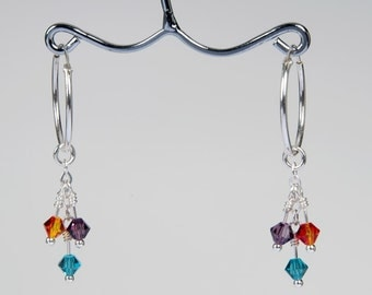 Silver Hoop Earrings with Colorful Crystals. Jewelry for Her. Anniversary Gift. Holiday Gift Idea. Easter Gift for Her