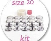 Size 20 Cover button kit: tool and 10 blank buttons ready to use