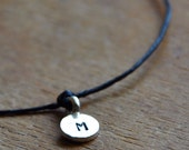 Make a Wish bracelet with Sterling SIlver TINY personalized hand stamped initial on black waxed Irish linen cord