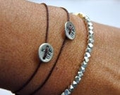 BFF friendship bracelet,  SET of 2 hand stamped bracelets in sterling silver and waxed cord