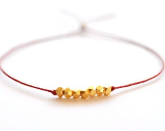 Wish bracelet -  Red Irish linen cord thread and gold nuggets