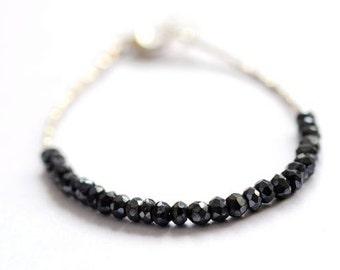 Gemstone black spinel tennis bracelet