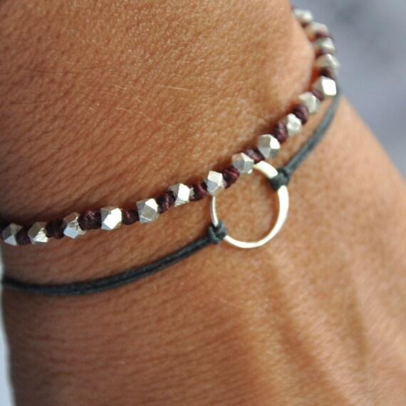 Karma bracelet.  Sterling silver.  -Baby Karma bracelet -on Gray waxed Irish linen cord thread