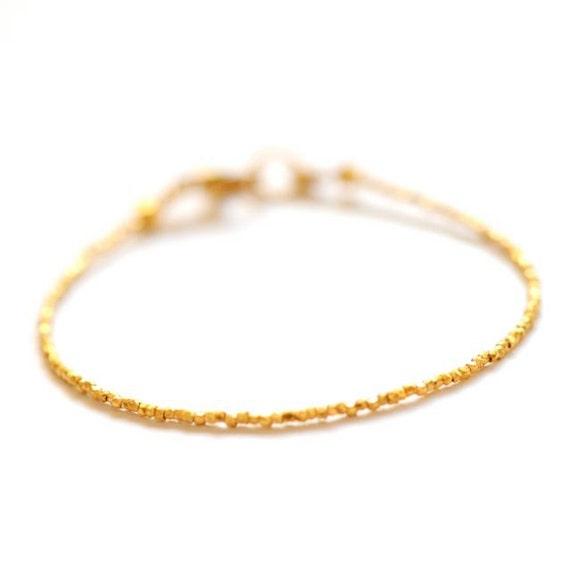 Gold beads bracelet.  Essential Gold stacking bracelet - simple bead bracelet