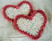 Heart Wash Clothes, Ruffled Cotton Heart Shaped Baby or Spa Wash Cloths Set of Two