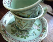 Vintage,Wedgewood, Adams, Singapore birds, English, china , demitasse, espresso, pale blue, mint green, nightingale, by kadootje77 on etsy