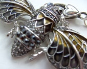 Cicada, Necklace, Golden Brown, Grey, Black, Silver, Moth, Butterfly, crystal, By NewellsJewels on etsy