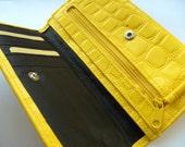 Vintage, Crocodile, faux leather, Zesty, YELLOW, sunshine, banana yellow,  lemon yellow,wallet, purse,by NewellsJewels on etsy