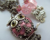 LAST ONE, Pink, Owl, necklace, pink owl, owl earrings, silver and pink, Woodland, by NewellsJewels on etsy