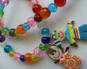 Boy and girl, necklace, childrens necklace, mix colour, by NewellsJewels on etsy