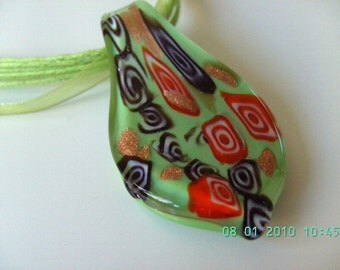 Green , millefiore, millefiori, pendant, leaf, green glass, glass pendant, green and red, necklace by NewellsJewels on etsy