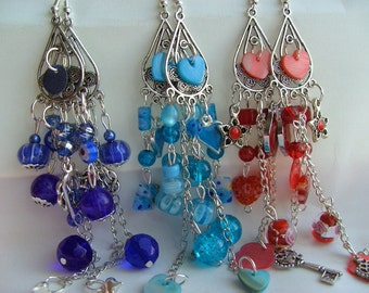 Big, Red and silver , Blue and silver, RED or BLUE chandelier, dangle, Earrings, by NewellsJewels on etsy