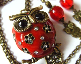 LAST ONE, Festive, OWL, 3D,Red, Bronze, pendant, earrings, set, bright red, by NewellsJewels on etsy