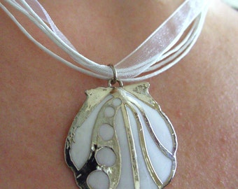 Lovely, White, Scallop, Shell, silver and white,  short necklace, by NewellsJewelson etsy
