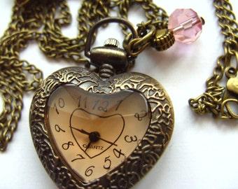 Pocket watch, love heart, necklace, earrings, set, pink, brown, enamel flower,Peach, by NewellsJewels on etsy