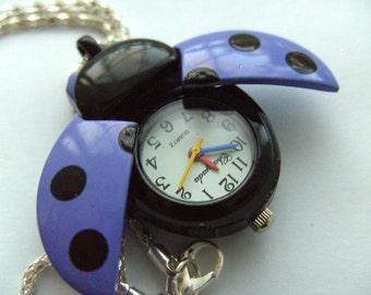 Purple, black, polka dots, Ladybird, ladybug, watch, pendant, necklace, dots, by NewellsJewels on etsy