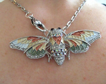 Cicada, Moth, butterfly, necklace, feature necklace, Silver, peach, grey,  by NewellsJewels on etsy
