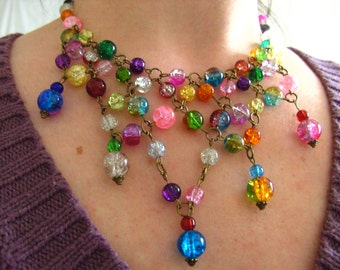 Bohemian, Glass, feature necklace, beads, Bronze, bib, Necklace, multi colour,mix colour, by NewellsJewels on Etsy
