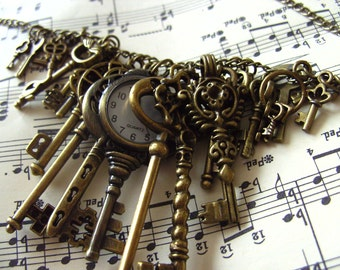I LOVE KEYS, Key necklace, 25 keys, Bronze, feature necklace, pocket watch, steampunk, by NewellsJewels on etsy