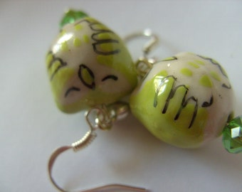 Lime green, Snoozy, OWL, earrings, crystal, love hearts, ceramic, porcelain, by NewellsJewels on etsy