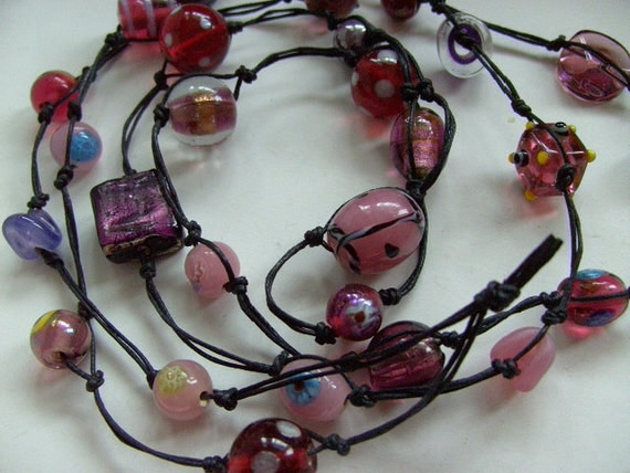 Bohemian, Hippie, Indian Glass, knotted, purple, burgundy, amethist, lilac , necklace, by NewellsJewels on etsy
