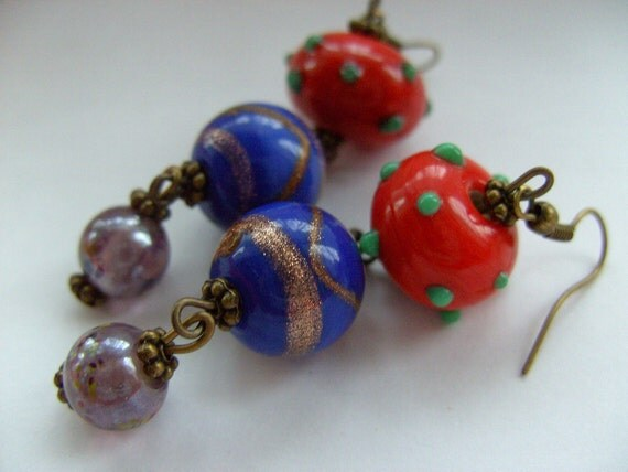 Bohemian, large, 1930s style, Indian glass, bronze, Dangle, Earrings,blue and orange, glass beads,  by NewellsJewels on etsy