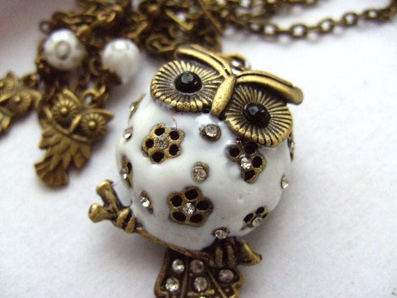 LAST ONE, Hedwig, Snow owl, pendant, earrings, set, white, Snow, owl,necklace, by NewellsJewels on etsy