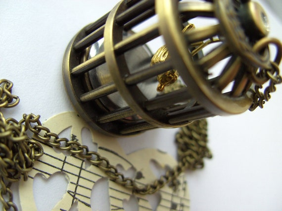 Lovely, Bird cage , pocket watch, pendant, necklace, Bronze, Bird, by NewellsJewels on etsy