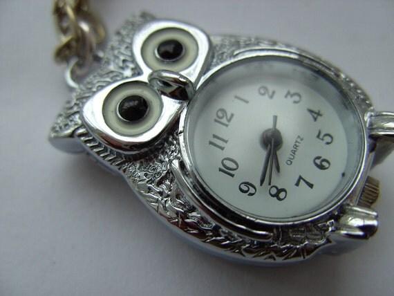 Silver owl, pocket watch, pendant, long necklace,  silver owl, watch,  by NewellsJewels on etsy
