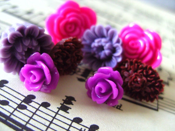 I LOVE PINK and PURPLE, Stud, Rose, earrings, pack of four pairs,  by NewellsJewels on etsy