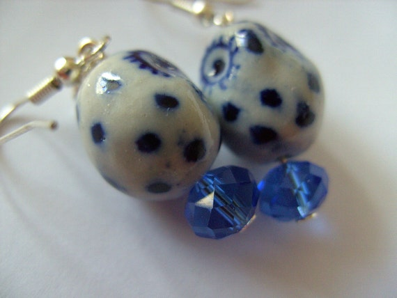 Delft blue, white and cobalt blue, OWL, earrings, crystal, love hearts, ceramic, porcelain, by NewellsJewels on etsy