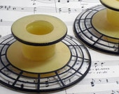 Vintage Art Deco Glass Candle Sticks, Candle Holders, 1920's, Yellow and Black