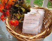 120 Custom Wedding Programs filled with Bird seed wedding toss