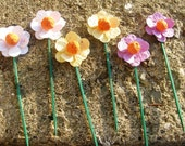 15 Plantable paper flowers on sticks- choose from 16 colors available