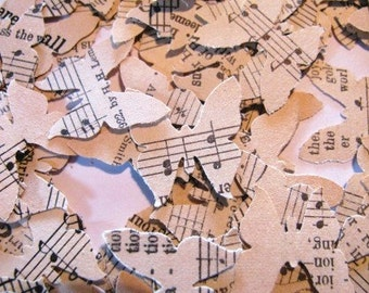 250 Butterfly cutouts from vintage music sheet
