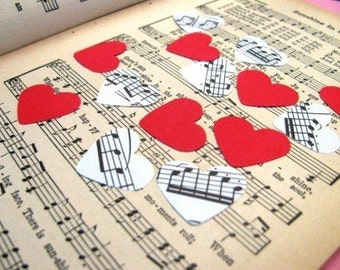 Romantic mix- 1,000 count- mix of black and white sheet music and colorful red cardstock- custom cardstock colors available